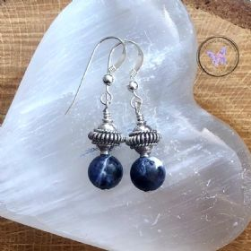 Sodalite Earrings With Fancy Silver Bead